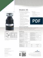 Triturador de resíduos alimentares InSinkErator® modelo 45