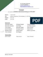 Protokoll außerordentliche Generalversammlung April 2014