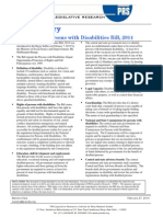 Bill Summary- Right of Persons With Disabilities Bill