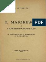 T. Maiorescu Şi Posteritatea Lui Critică