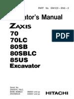 Hitachi ZX85US Operator´s manual
