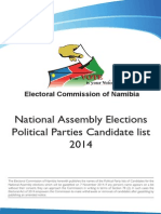 National Assembly Elections Political Parties Candidate List 2014