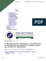 Contaminação Microbiológica e Procedimentos de Desinfecção de Esponjas de Cozinha Usadas Em Serviços de Alimentação