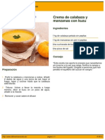 Receta - Crema de Calabaza y Manzanas Con Kuzu