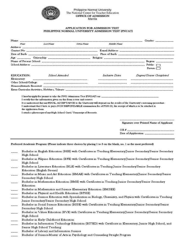 Pnuat application form secondary school primary education thecheapjerseys Gallery