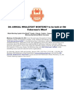 5th ANNUAL WHALEFEST MONTEREY to Be Held at Old Fisherman's Wharf