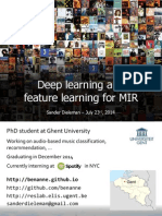 Deep Learning and Feature learning for MIR