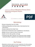 National Survey of Republican Primary Voters Regarding Immigration Reform