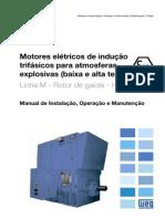 WEG Motores Eletricos de Inducao Trifasicos Para Atmosferas Explosivas Baixa e Alta Tensao Linha m Rotor de Gaiola Horizontais 12352236 Manual Portugues Br