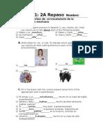 spanish 1 - 2a repaso respuestas