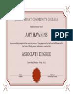 Amy Hawkins Associate Degree