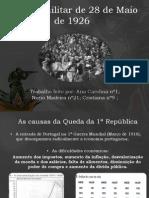 Dificuldades da 1ª República e Golpe de 28 de Maio de 1926