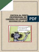 Crítica Al Perfil de La Carrera de Linguística de La Umsa