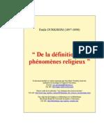 Durkheim, Émile - De La Définition Des Phénomènes Religieux (1897-98)