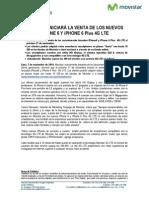 MOVISTAR INICIARÁ LA VENTA DE LOS NUEVOS iPHONE 6 Y iPHONE 6 Plus 4G LTE