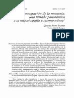 La Cosagración de La Memoria. Una Mirada Panorámica a La Historiografía Contemporánea
