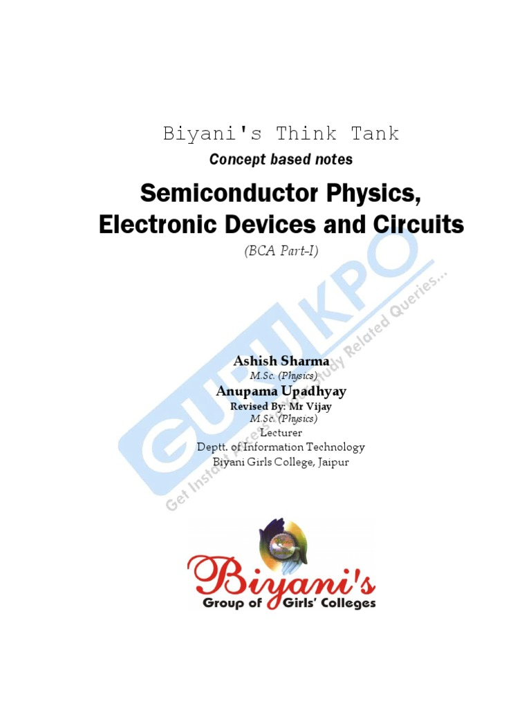 Semiconductor Physics Electronic Devices And Circuits Pn The Two Diodes Are Part Of 37 A Bridge Rectifier Used In Circuit Junction
