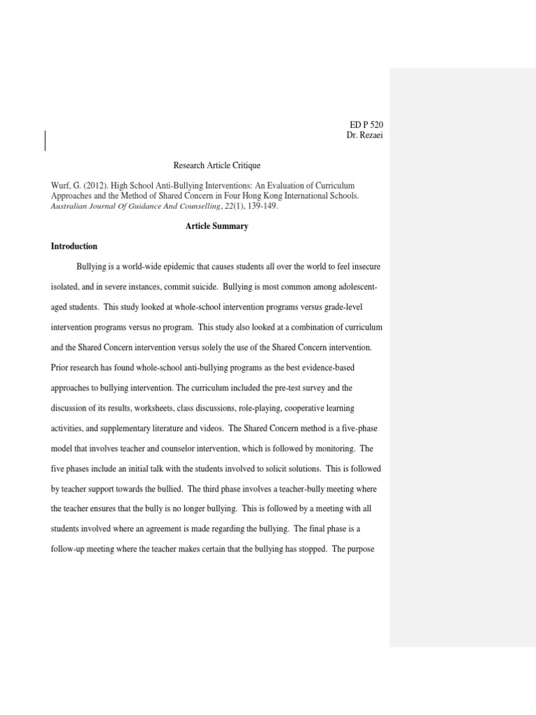 sample quantitative research critique paper