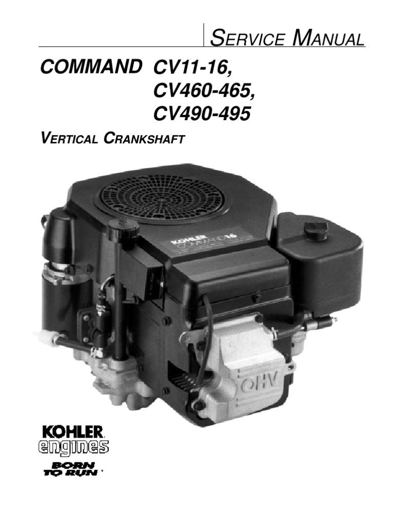 kohler command 16hp vertical shaft engine service manual gasoline rh scribd com kohler engine manual parts kohler engine manual parts