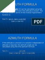 Azimuth Formula