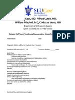Rotator Cuff Tear-Tendinosis Non-Operative Treatment Protocol-SLU