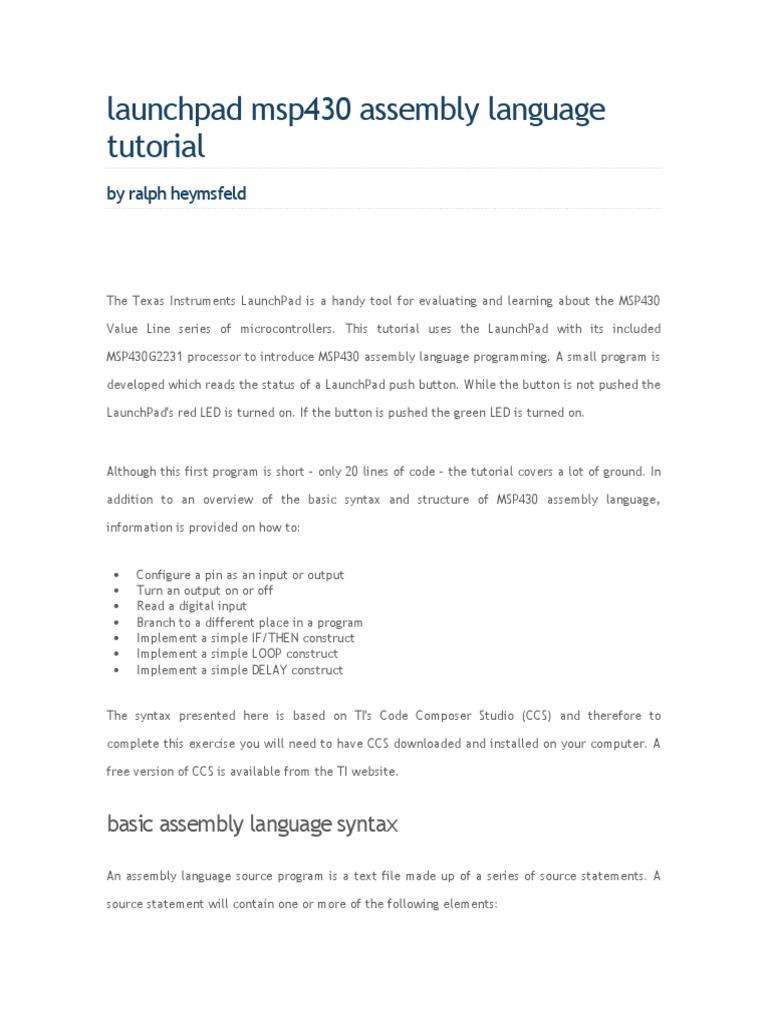 Assembly Language | Assembly Language | Instruction Set