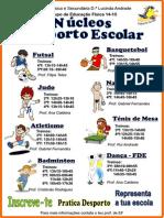 Núcleos de Desporto Escolar - horário de treinos