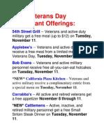 2014 Veterans Day Restaurant Offerings