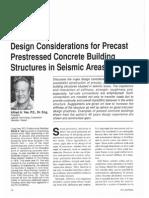 Design Considerations for Precast Prestressed Concrete in Seismic Areas