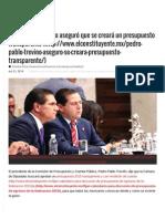 21-10-14 Pedro Pablo Treviño aseguró que se creará un presupuesto transparente