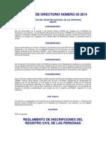 Reglamento de Inscripciones Del Registro Civil de Las Personasacuerdo 55-2014