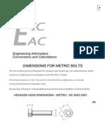 Metric Bolt Dimensions