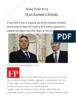 Hungary is Helping Putin Keep His Chokehold on Europe's Energy