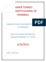 primer torneo interinstitucional de handball