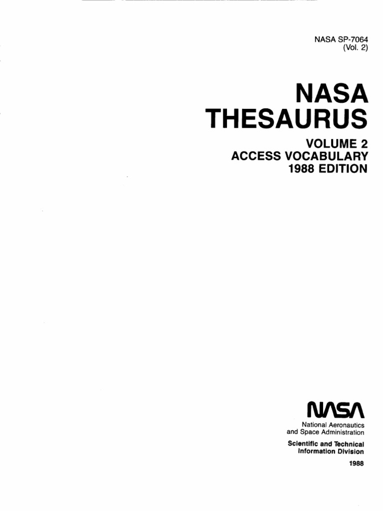 Nasa Thesaurus Volume 2 Access Vocabulary Sl 780 Jet Ski Wire Diagram On Polaris Stator Wiring Harness 1995