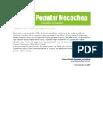 Gacetilla de Prensa del Frente Popular Necochea 11