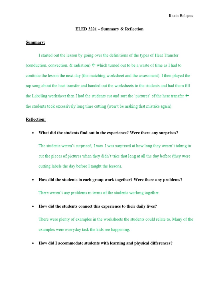 Worksheets Methods Of Heat Transfer Worksheet balqees reflection eled 3221 science heat transfer lesson plan