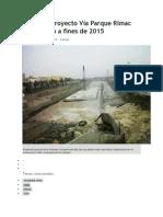 Obras de Proyecto Vía Parque Rímac Culminarán a Fines de 2015