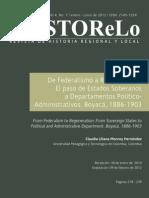 De Federalismo a Regeneracion El Paso Del Os Estados Sosberanos a Departamentos