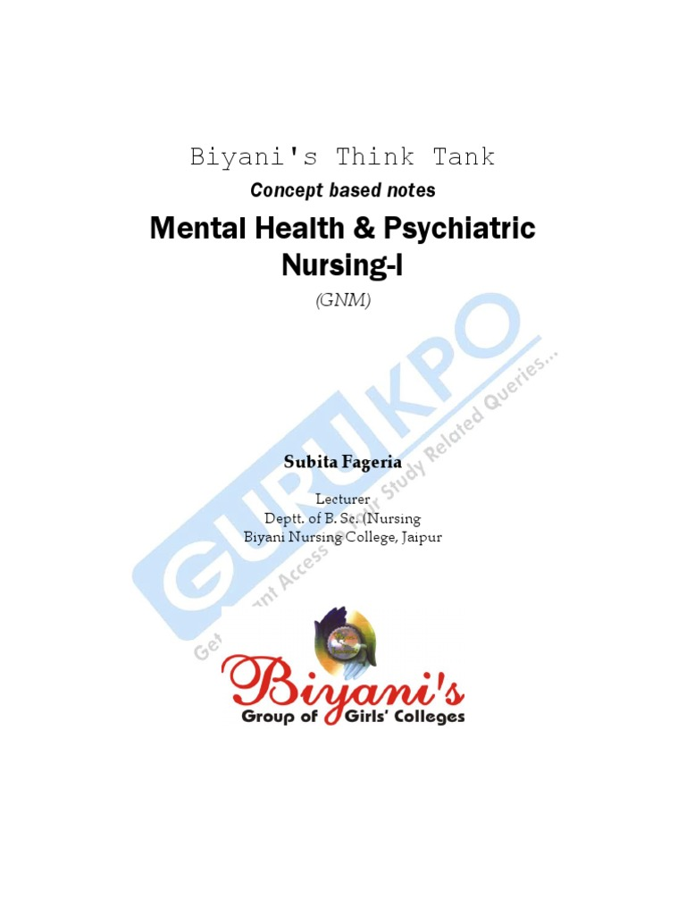 Mental Health Of Gnm Psychiatric And Mental Health Nursing