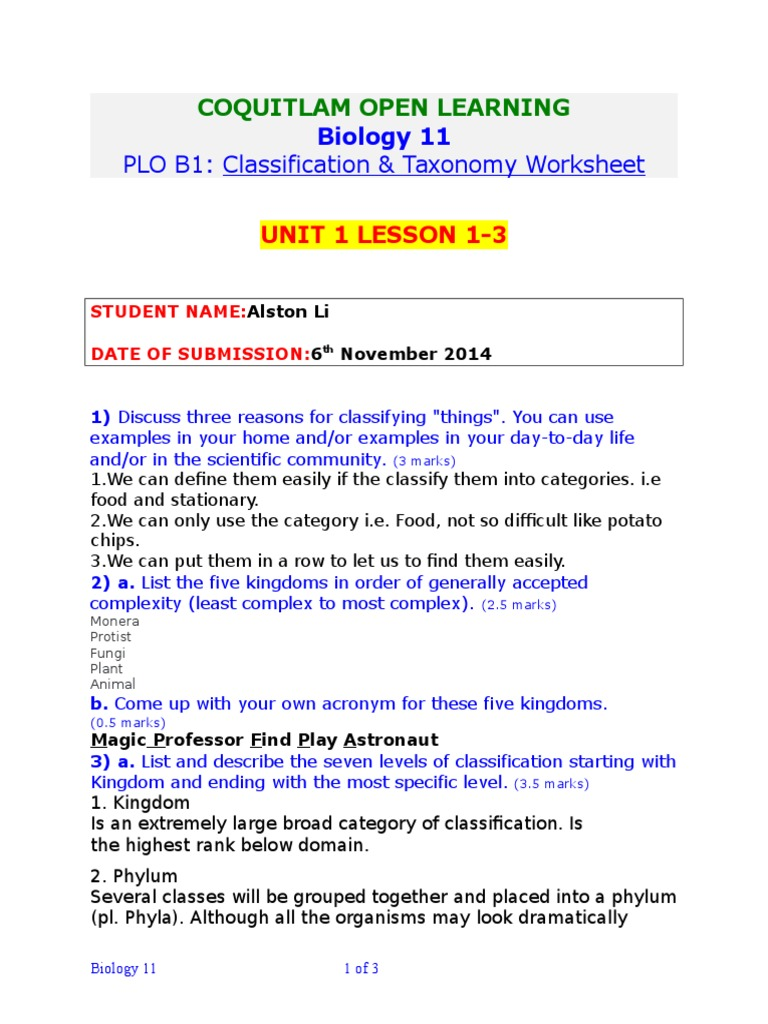 Unit 1 Lesson 123 Worksheet Taxonomy Biology Archaea