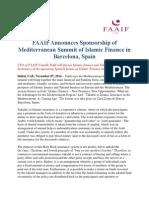 FAAIF Announces Sponsorship of Mediterranean Summit of Islamic Finance in Barcelona, Spain