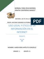 ENSAYO TIC Uso Legal y Etico de La Información en El Internet