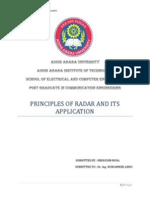 Principles of radar and its application pdf