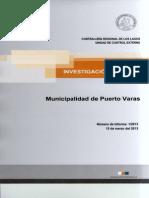 Investigacion Especial 1-13 Municipalidad de Puerto Varas Eventual Intervencionismo Electoral - Marzo 2013