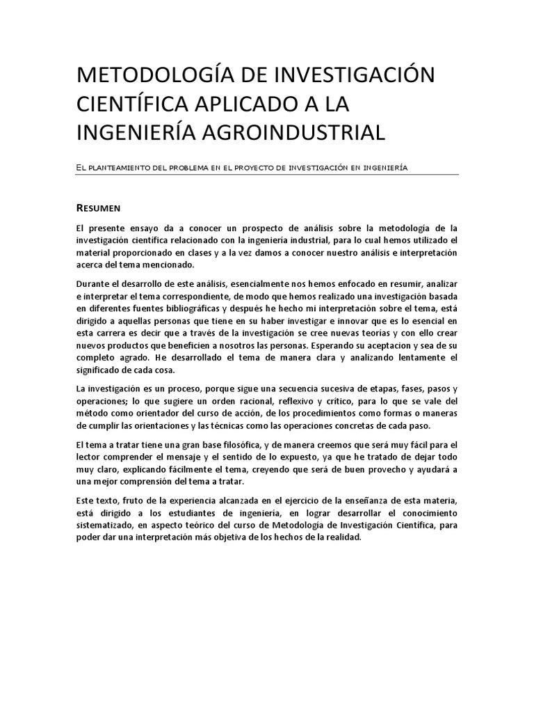 Metodología de Investigación Científica Aplicado a La Ingeniería ...