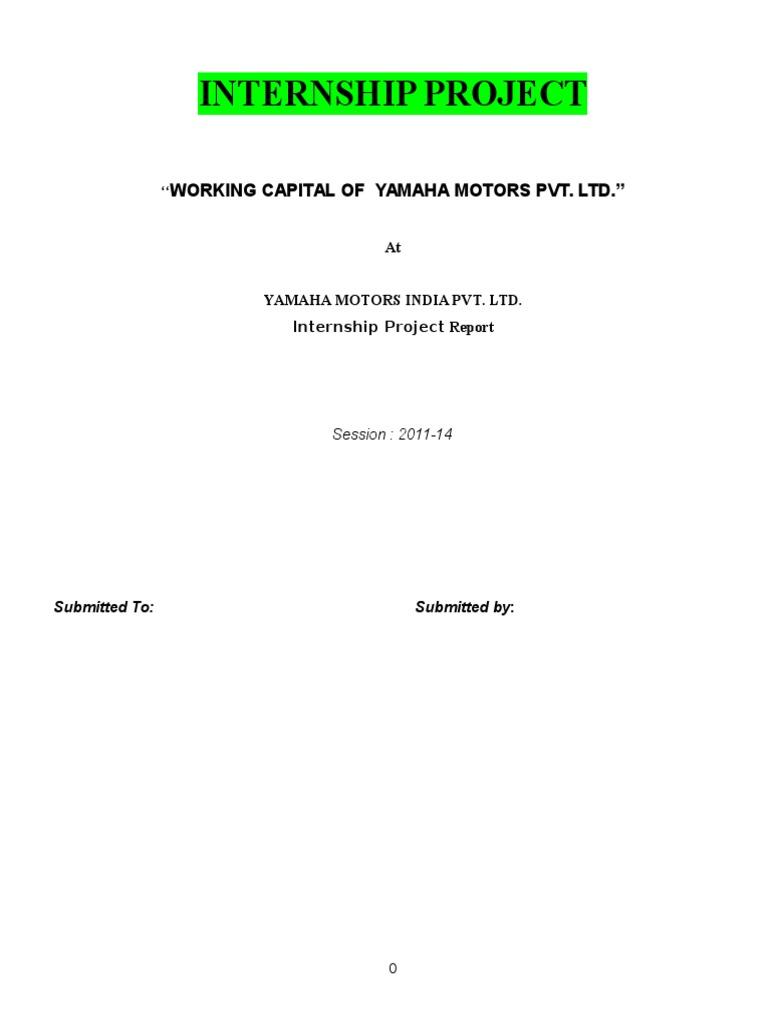 Working Capital In Yamaha