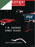 Adorno Bloch Négativité Et Utopier