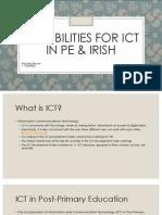Possibilities for ICT in PE & Irish