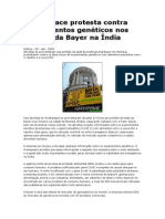 Greenpeace Protesta Contra Experimentos Genéticos Nos Portões Da Bayer Na Índia